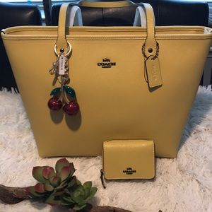 Coach Tote with Wallet and Cherry Charm